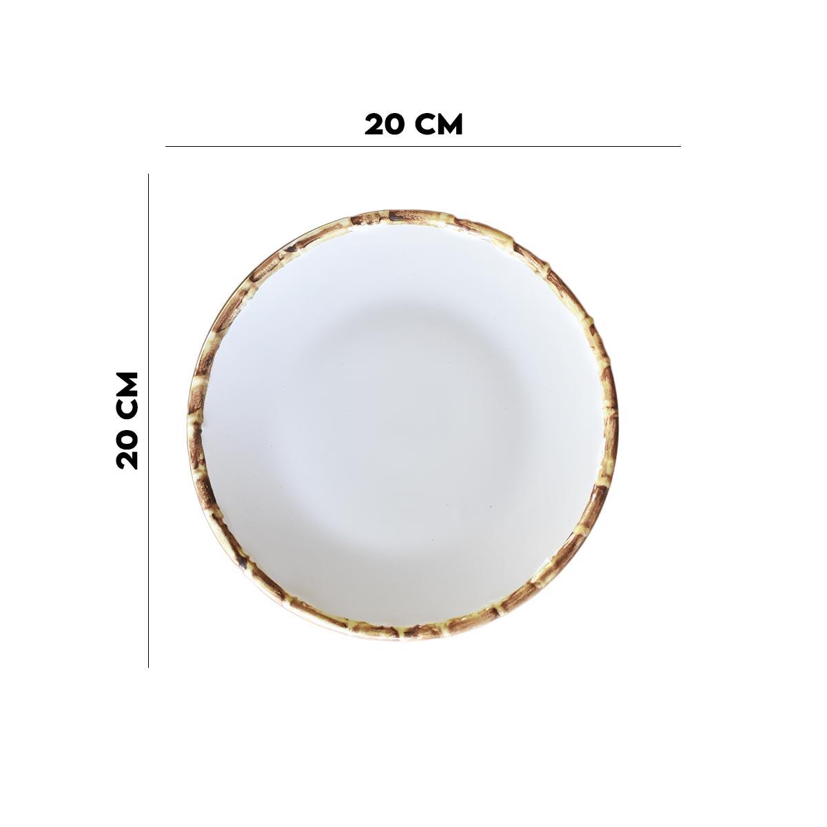 Jogo 8 Pratos de Sobremesa 20cm com Borda de Bambu 1ª Linha  - Lemis