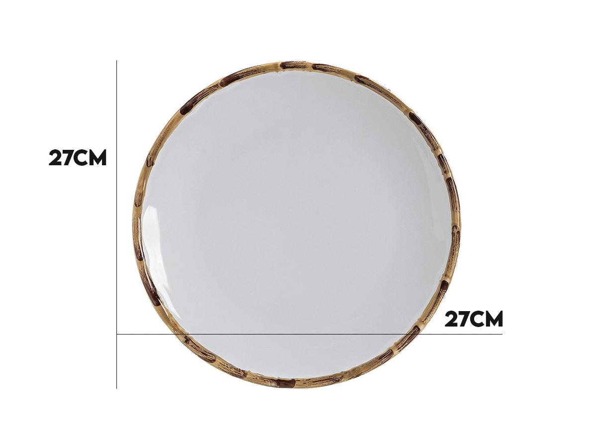 Jogo 8 Pratos Rasos Bambu Natural 27cm Scalla 2ªLinha  - Lemis