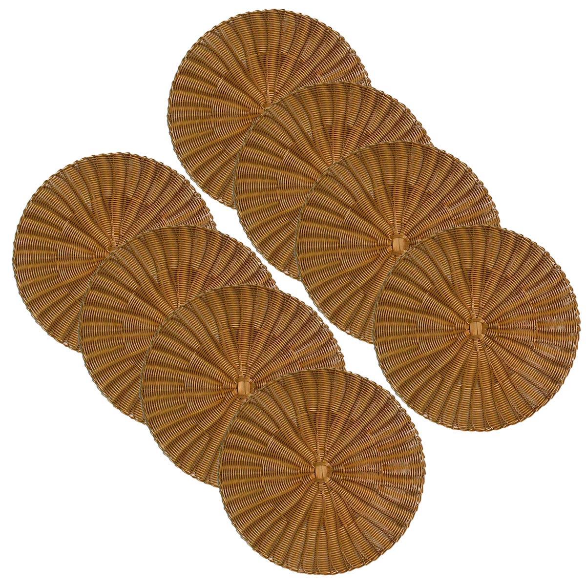 Jogo 8 Sousplats de Plástico Dourado   - Lemis