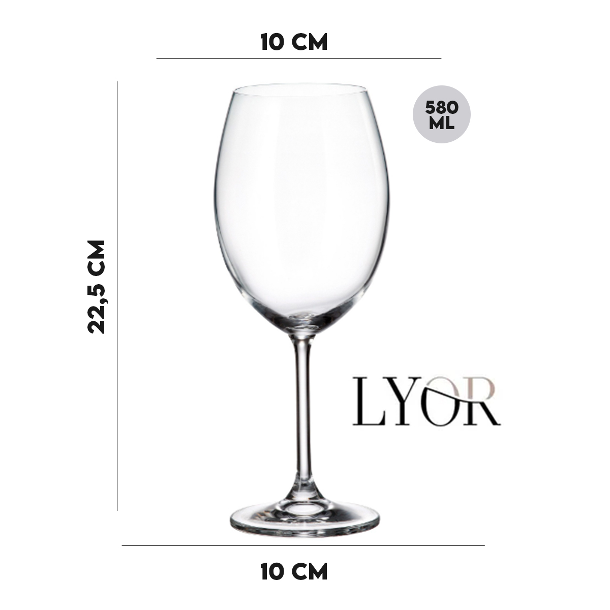 Jogo 8 Taça para Degustação de Vinho Cristal Ecológico 580 ml  - Lemis
