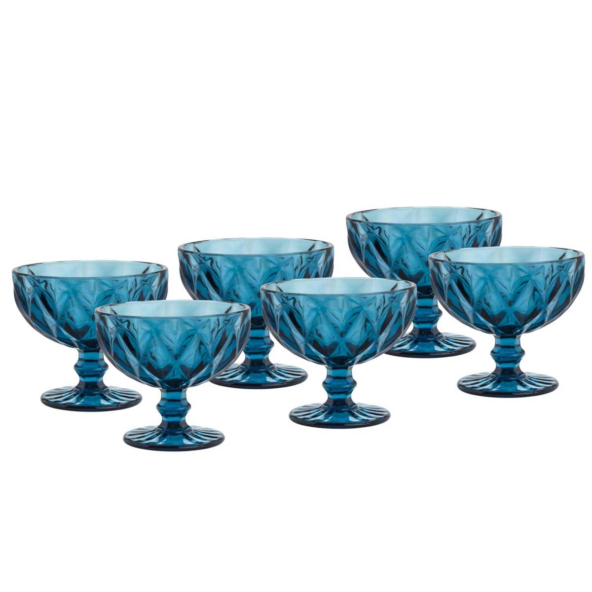 Jogo 8 Taças Coupe de Vidro Sodo-Calcico Diamond Azul 310 ml  - Lemis