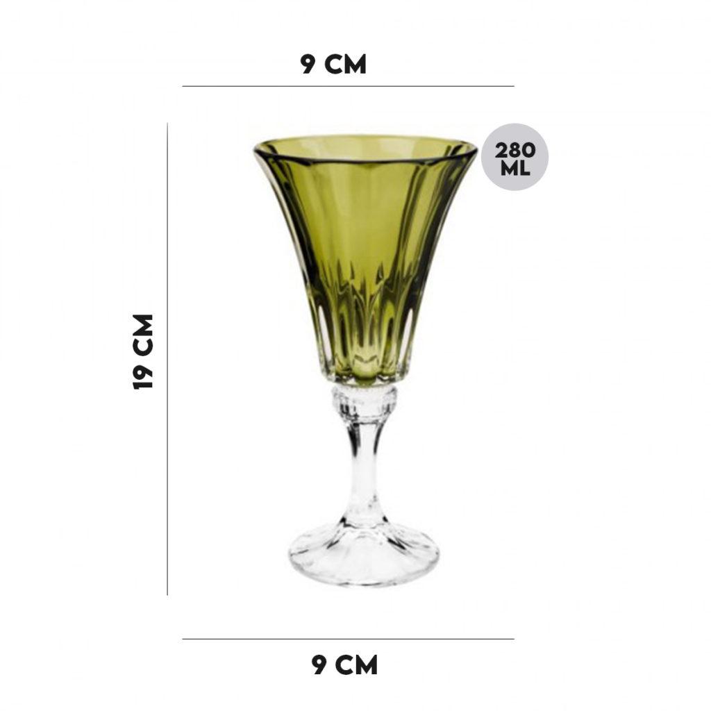 Jogo 8 Taças Cristal Ecológico para Água Verde 280 ml  - Lemis