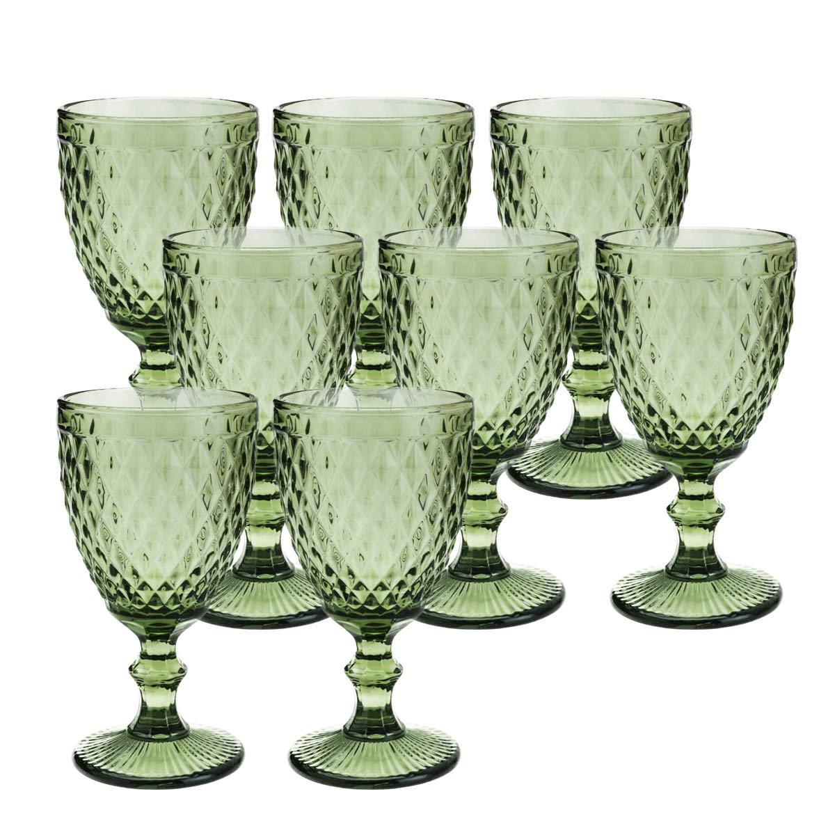 Jogo 8 Taças de Vidro p/Água Lyor Abacaxi 325 ml Verde  - Lemis