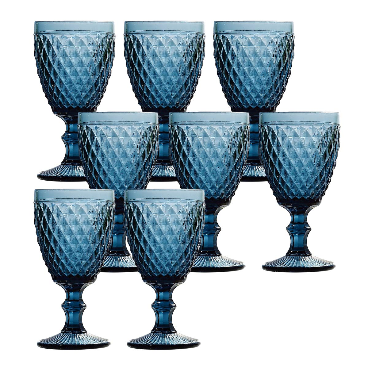 Jogo 8 Taças p/Água em Vidro Azul Bico de Abacaxi 260ml Lyor  - Lemis