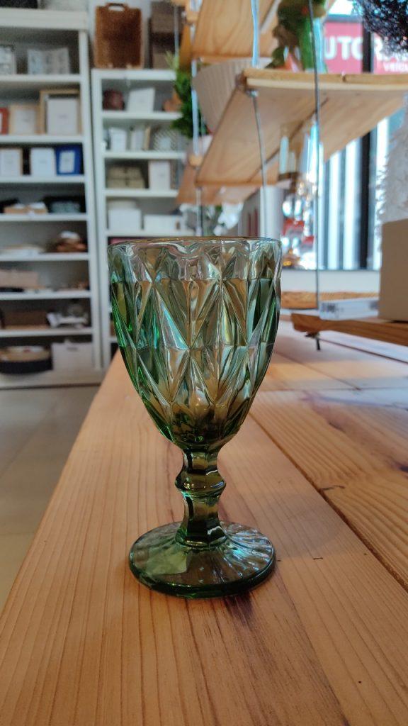 Jogo 8 Taças para Água de Vidro Diamond Verde 300 ml  - Lemis