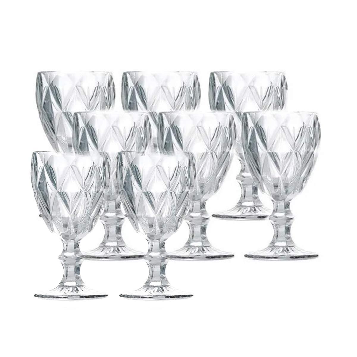 Jogo 8 Taças para Água Vidro Sodo Cálcico Diamond Transparente Lyor 325 ml  - Lemis