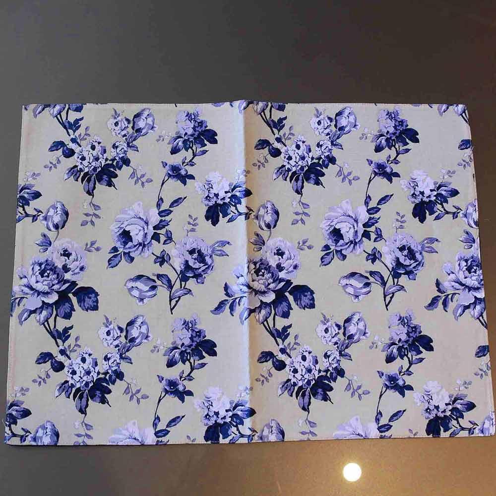 Jogo Americano Algodao Flores Azul  - Lemis