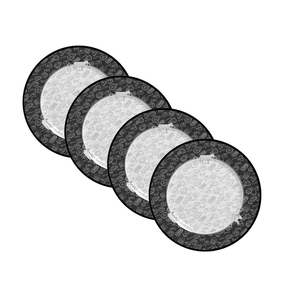Jogo de 4 Pratos de Sobremesa Alleanza Barbecue 2ª Linha  - Lemis
