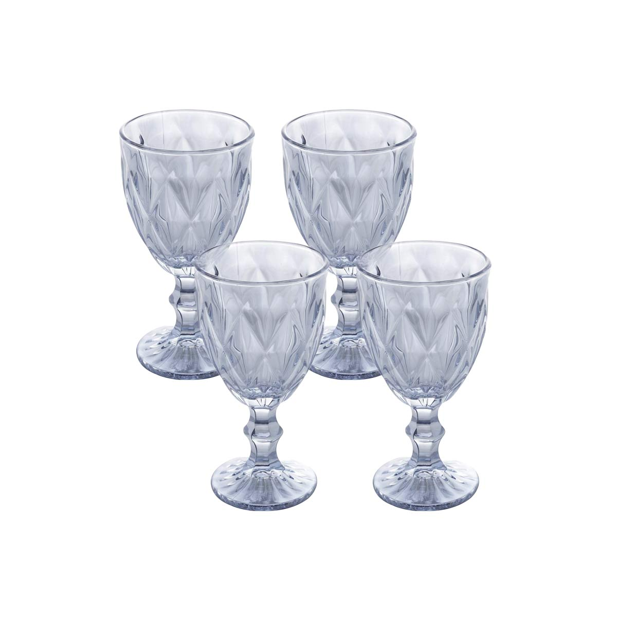 Jogo de 4 Taças p/Água Diamond Azul Metalizado 350 ml Lyor  - Lemis