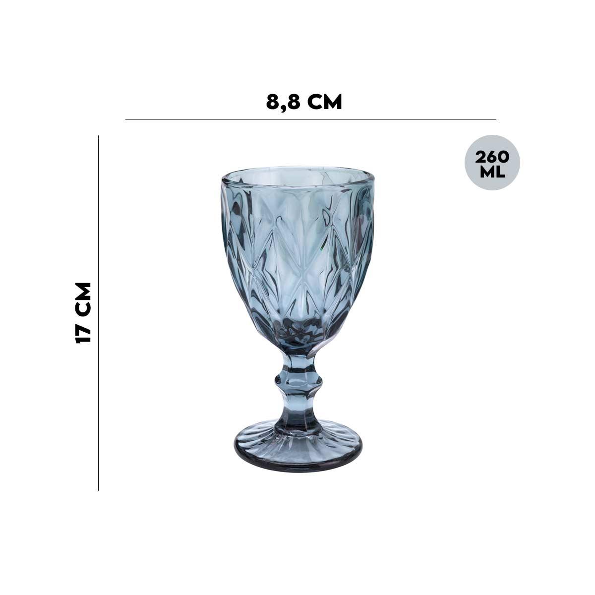 Jogo de 4 Taças Para Água Diamond Azul 260Ml Lyor  - Lemis