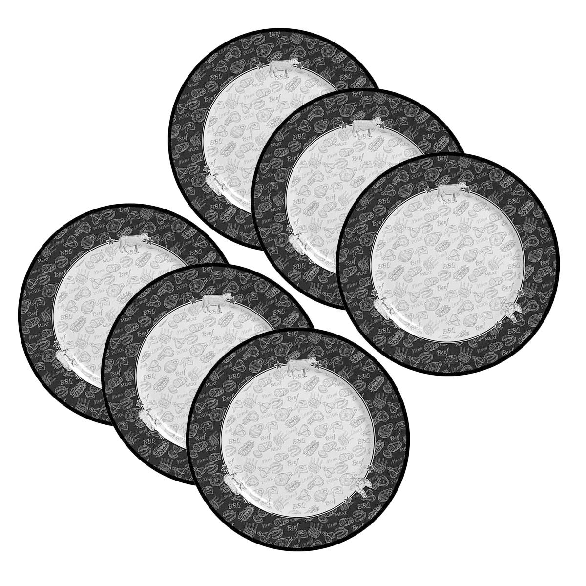 Jogo de 6 Pratos de Sobremesa Alleanza Barbecue 2ª Linha  - Lemis