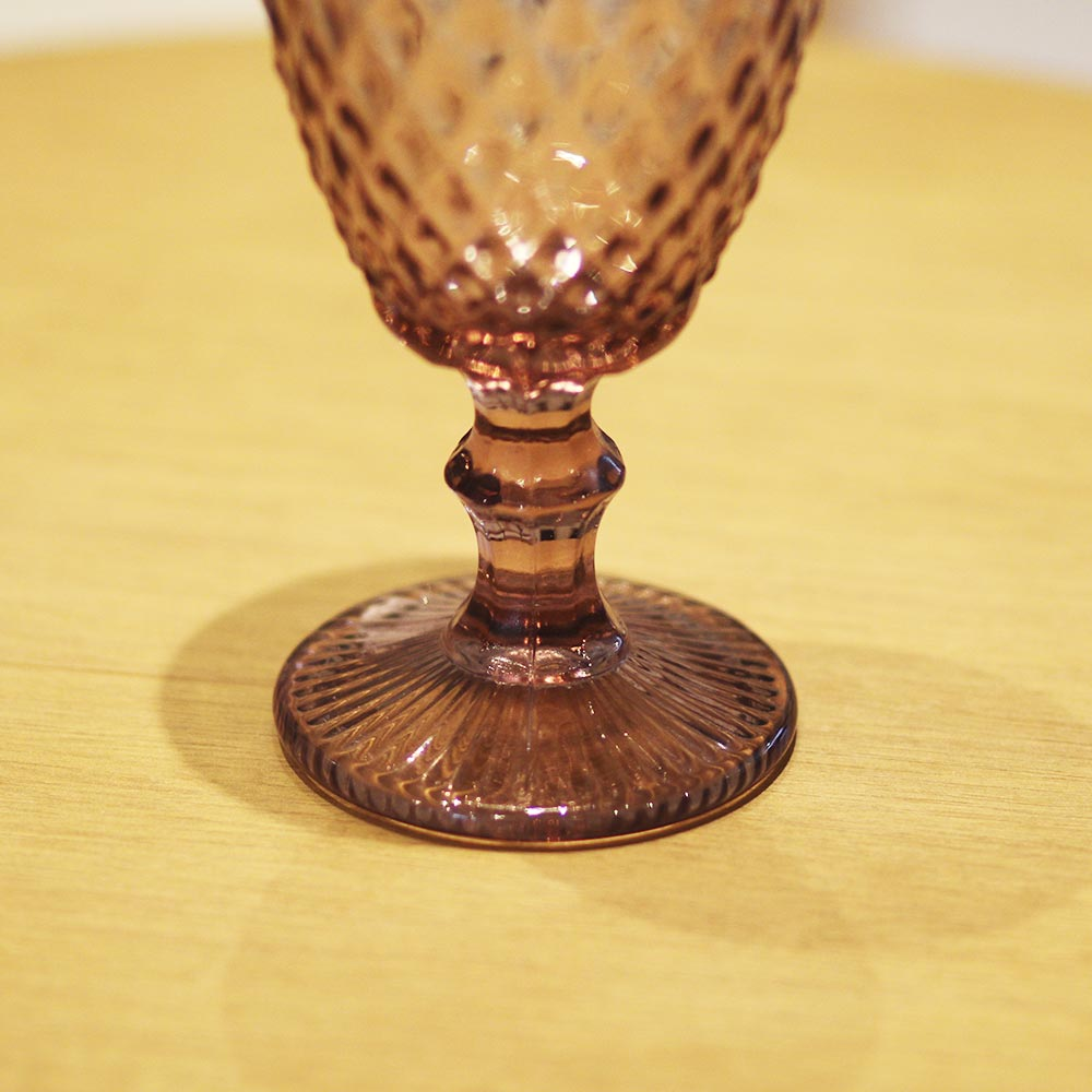 Jogo de 6 Taças p/Agua de Vidro Bico de Abacaxi Lílas 325 ml  - Lemis