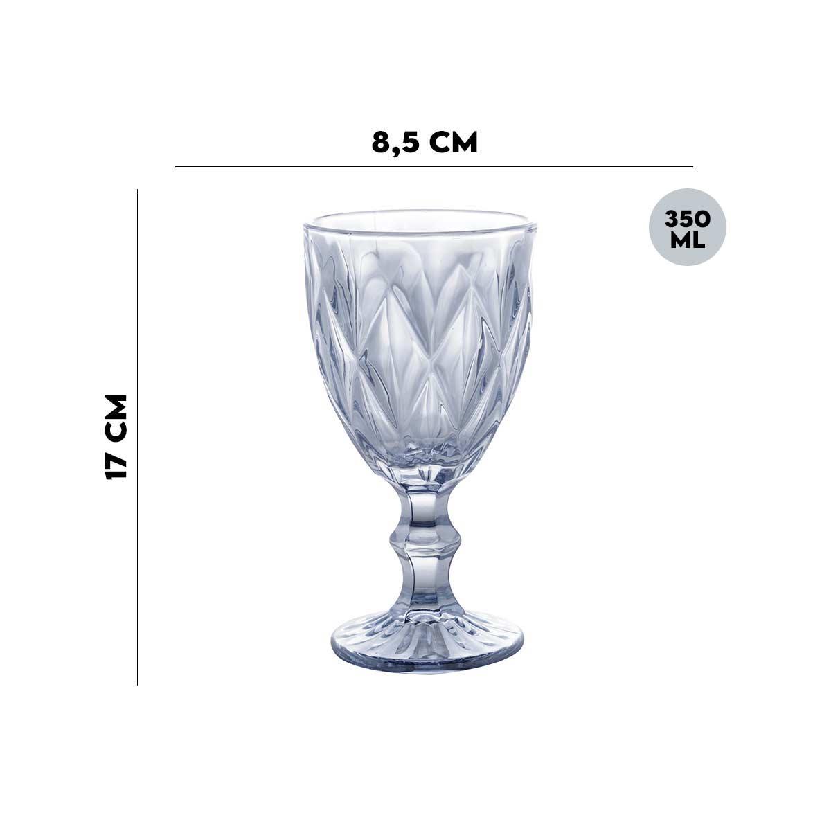 Jogo de 6 Taças p/Água Diamond Azul Metalizado 350 ml Lyor  - Lemis