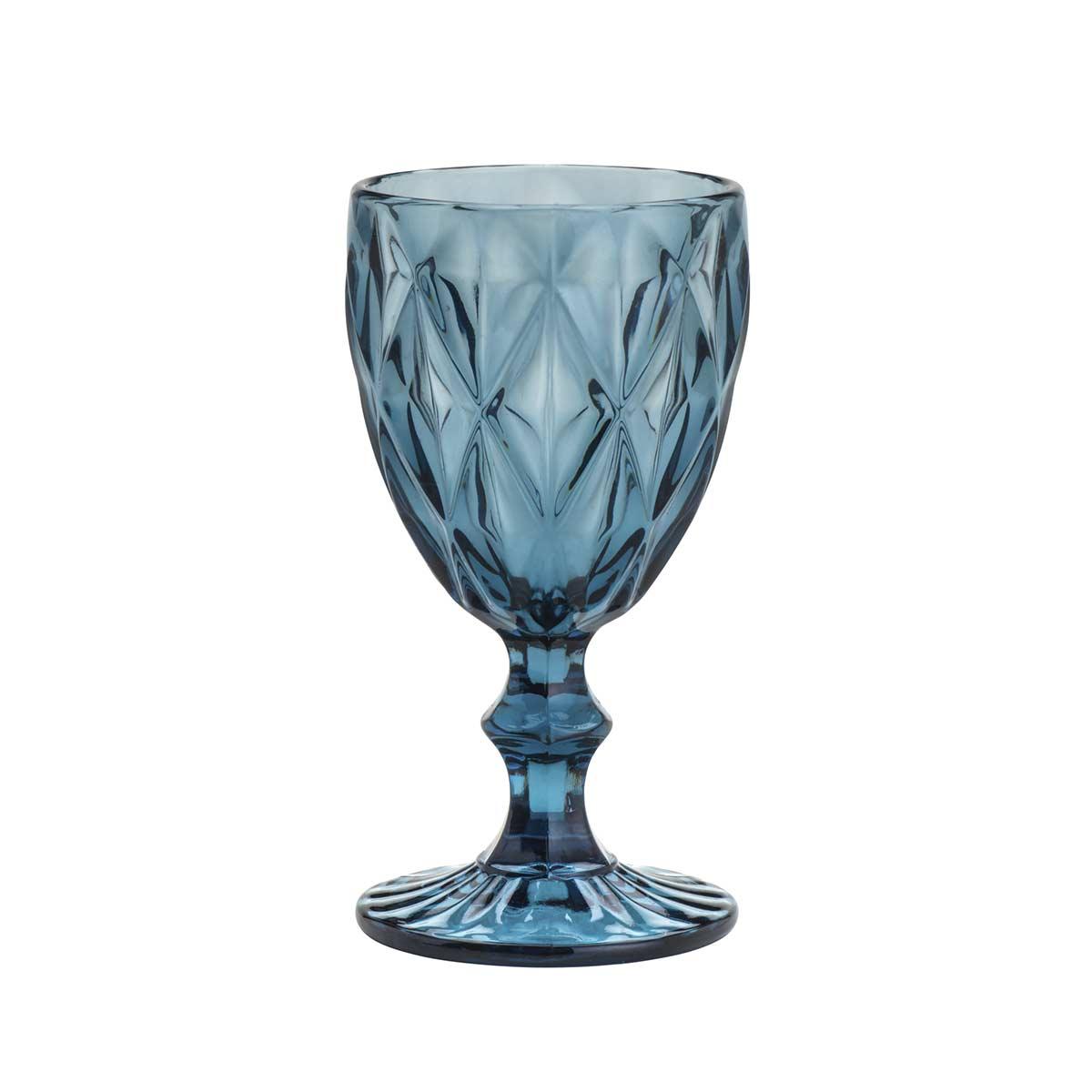 Jogo de 6 Taças Para Água Diamond Azul 260Ml Lyor  - Lemis