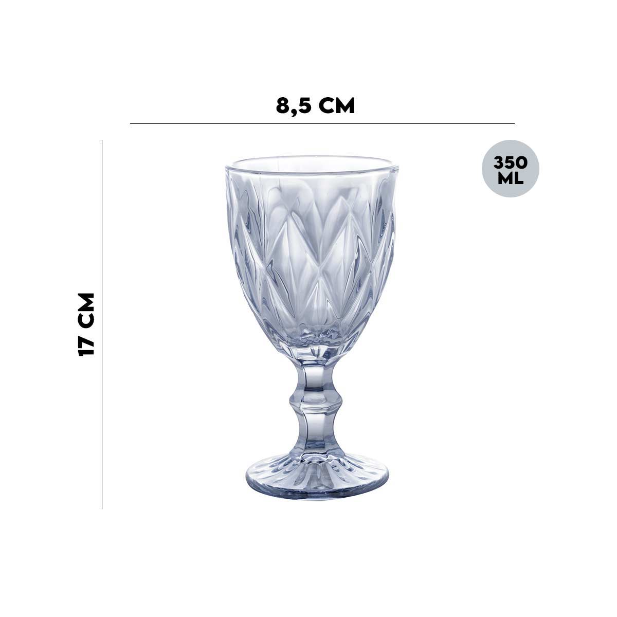Jogo de 8 Taças p/Água Diamond Azul Metalizado 350 ml Lyor  - Lemis