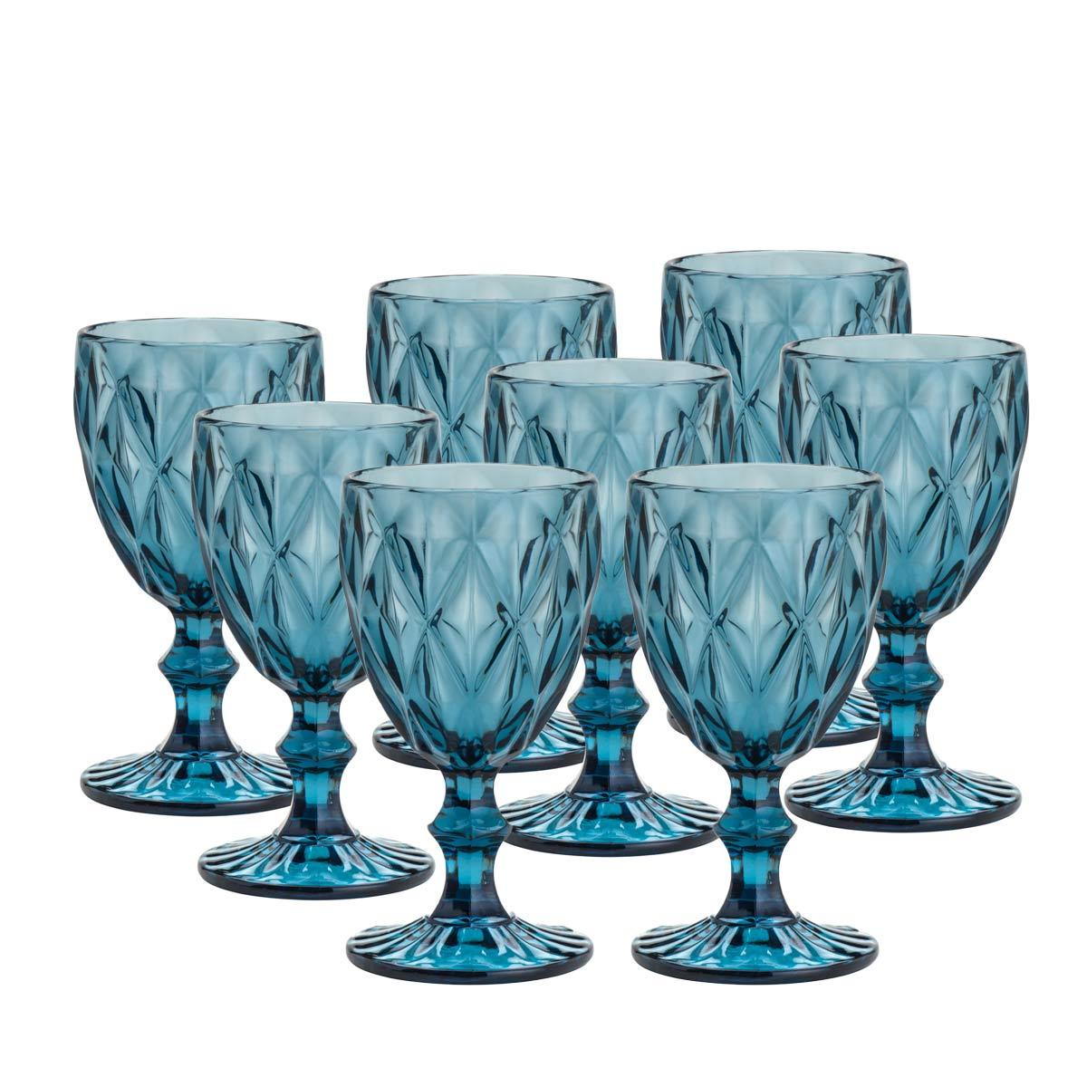 Jogo de 8 Taças Para Água Diamond Azul 260Ml Lyor  - Lemis