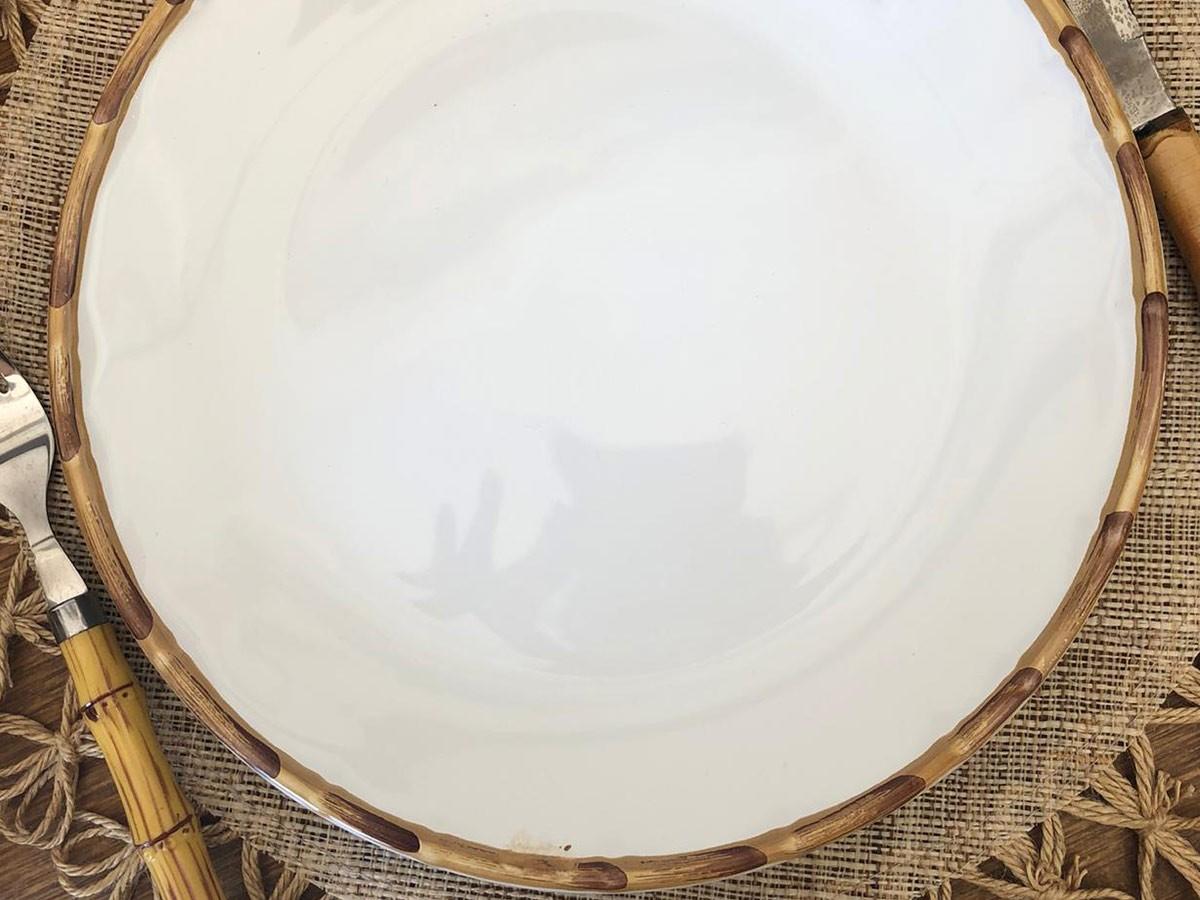 Jogo de Pratos 8 Rasos e 8 Sobremesa Borda de Bambu 2ª Linha  - Lemis