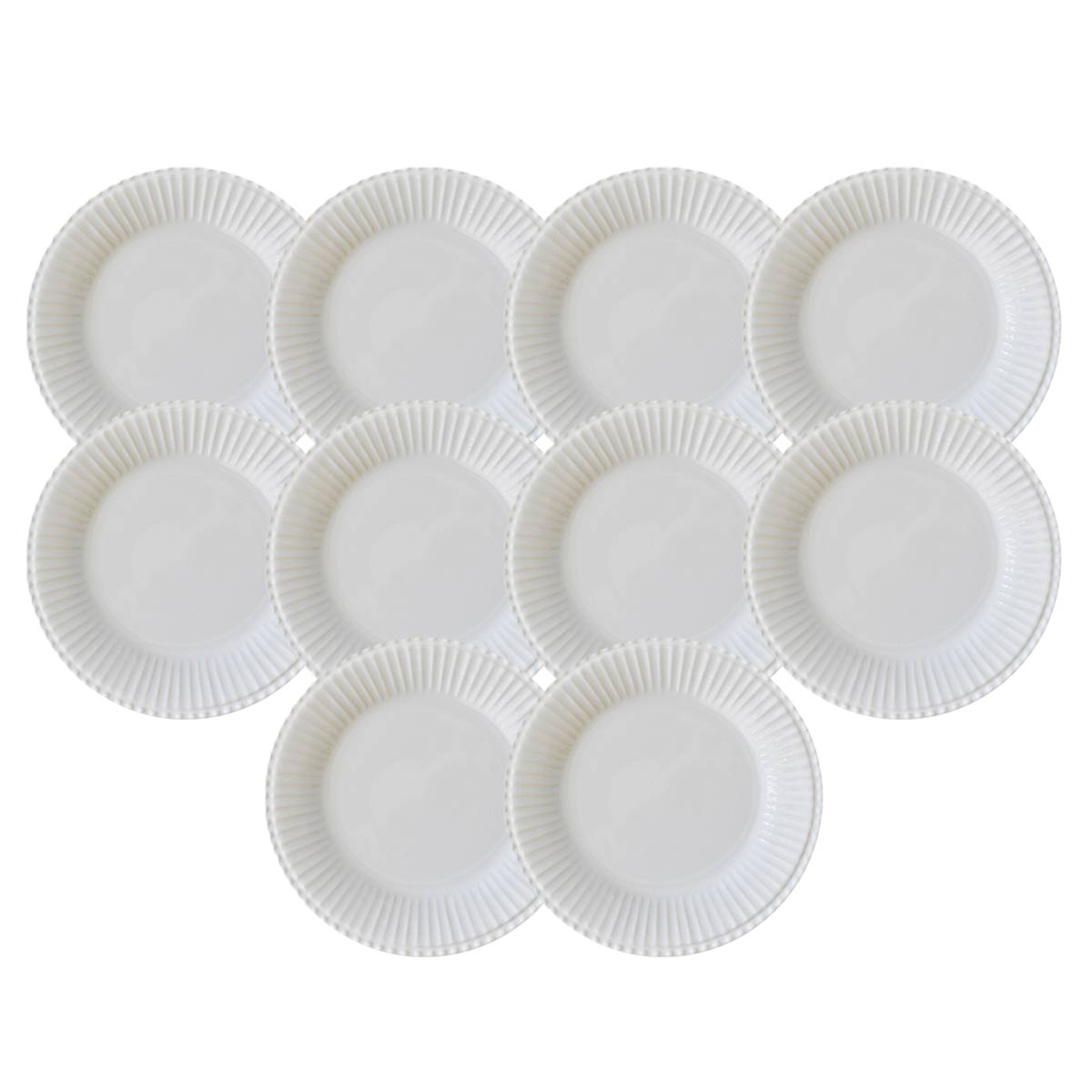 Kit 10 Pratos de Sobremesa Frisada Branco 1º Linha  - Lemis