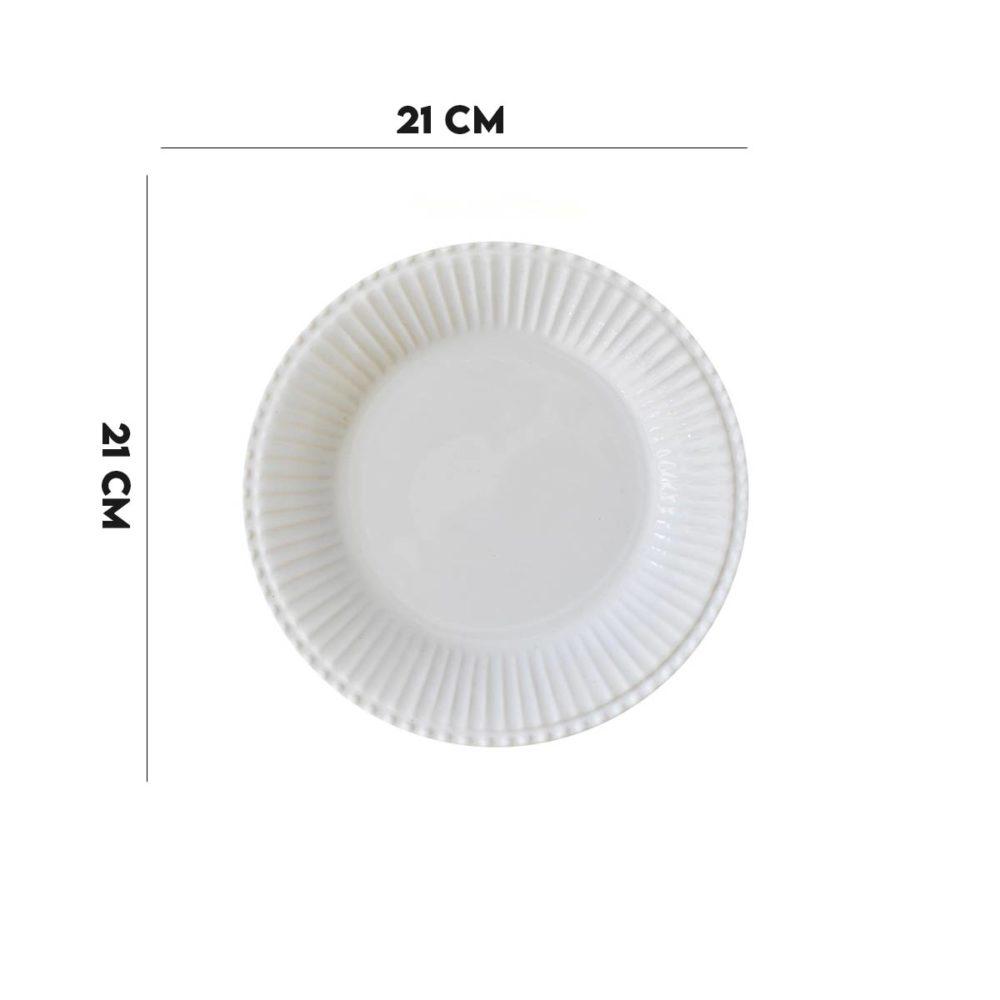 Kit 12 Pratos de Sobremesa Frisada Branco 1º Linha  - Lemis