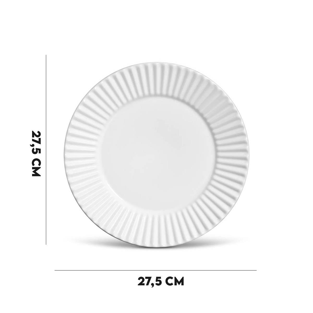 Kit 12 Pratos Rasos Frisado Branco 1º Linha Scalla  - Lemis