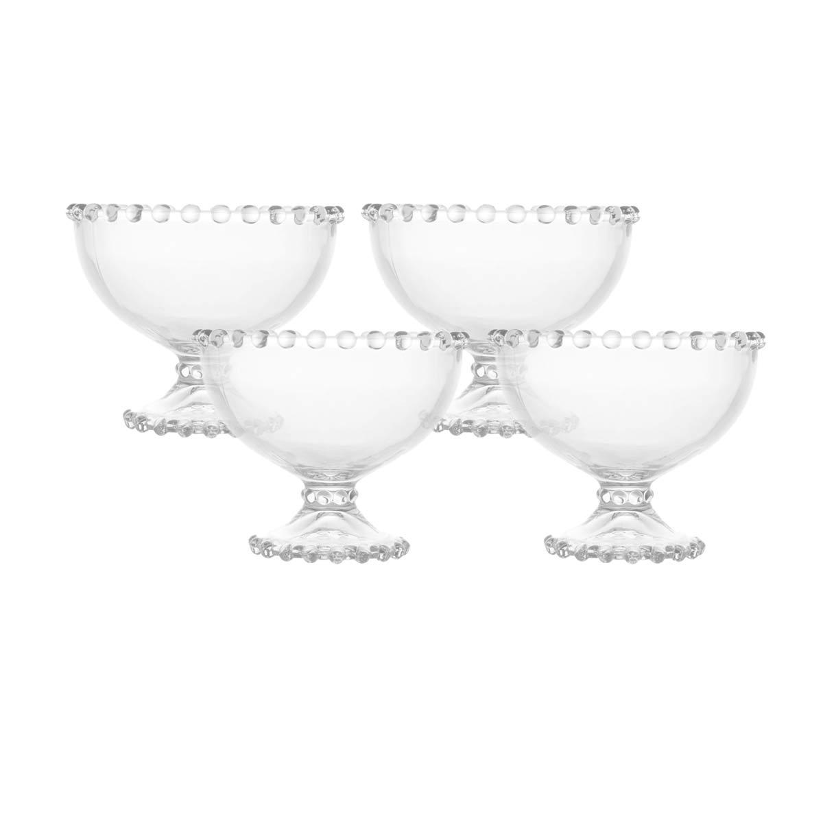 Kit 4 Taças Cristal de Chumbo para Sobremesa Pearl Wolff  - Lemis