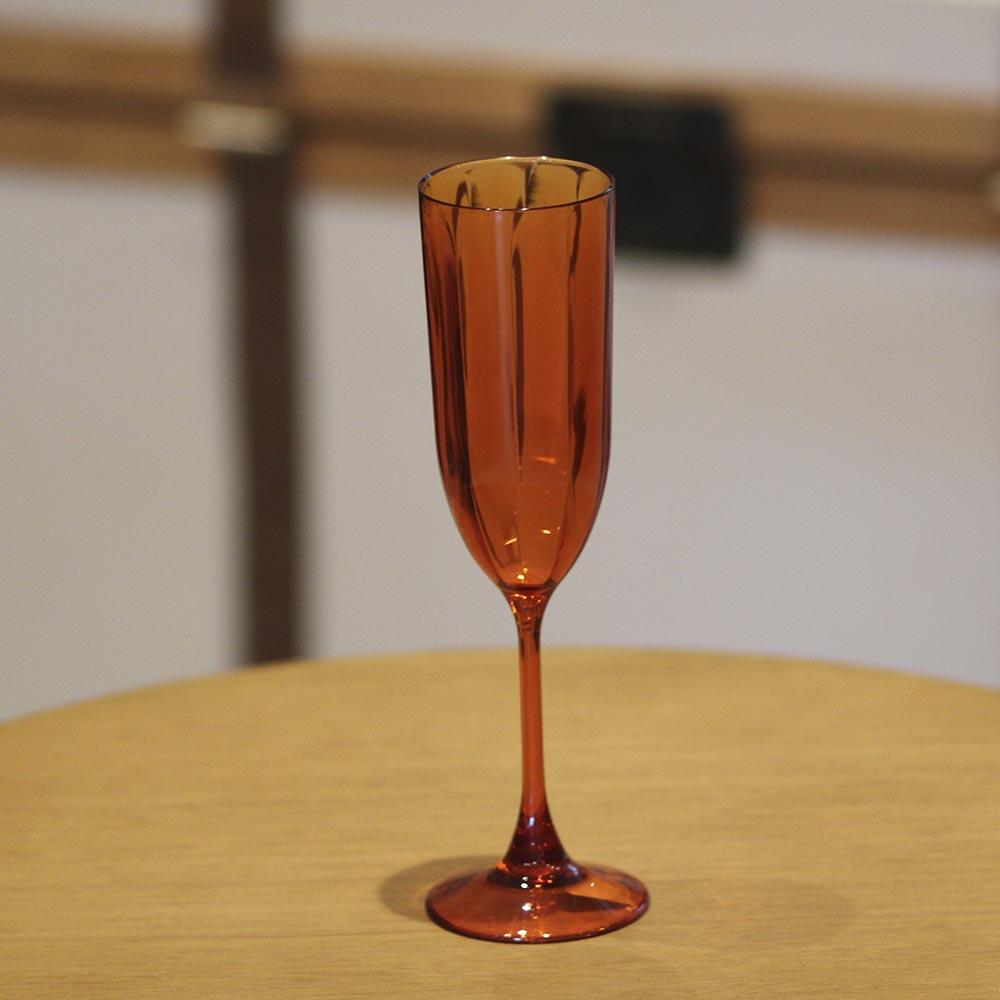 Kit 4 Taças para Champagne Acrílico Laranja In Casa 200 ml  - Lemis