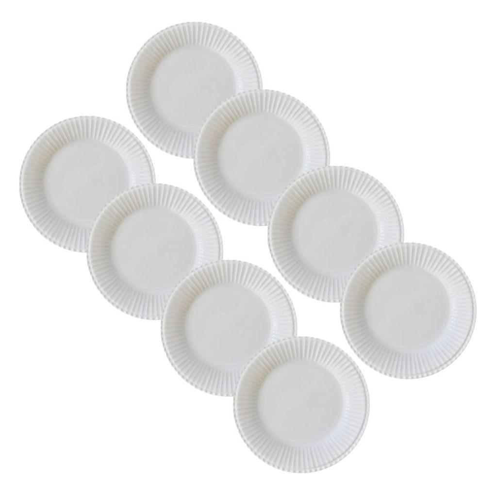 Kit 6 Pratos de Sobremesa Frisada Branco 1º Linha  - Lemis