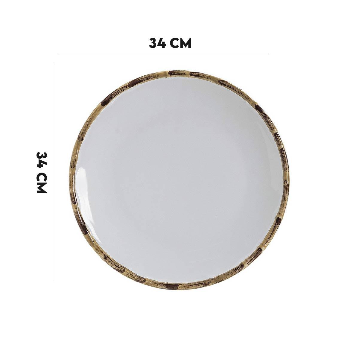 Kit 6 Sousplat Branco Borda de Bambu 34 cm 1º Linha  - Lemis