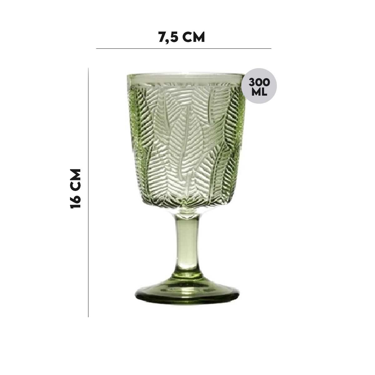 Kit 6 Taças p/ água Vidro Sodo-Cálcico Leaves Verde 300 ml  - Lemis