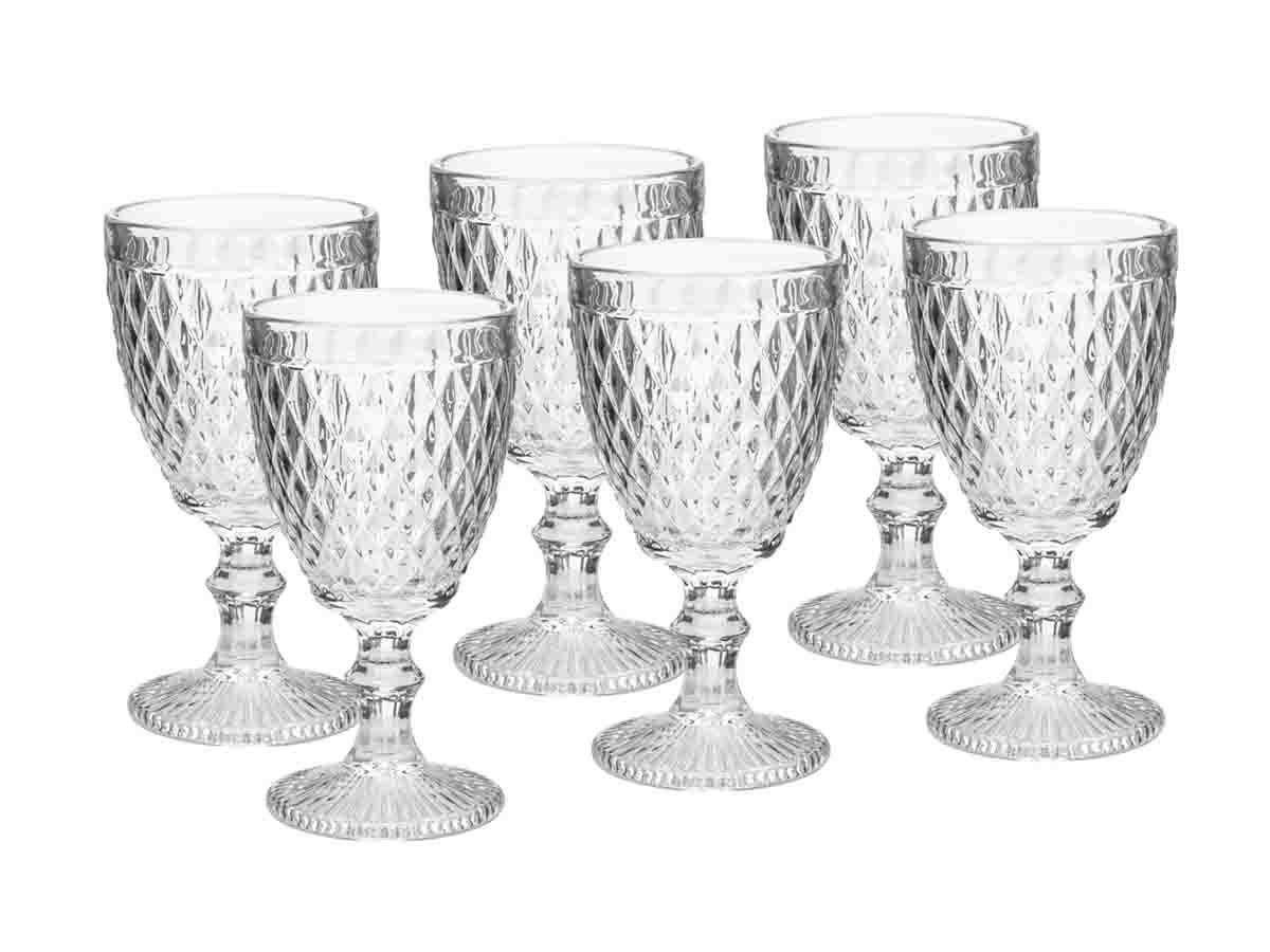 Kit 6 Taças para Água de Vidro Sodo-Cálcico Bico de Abacaxi Transparente  - Lemis