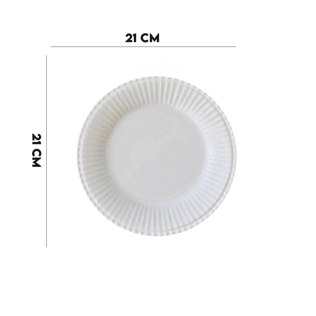 Kit 8 Pratos de Sobremesa Frisada Branco 1º Linha  - Lemis