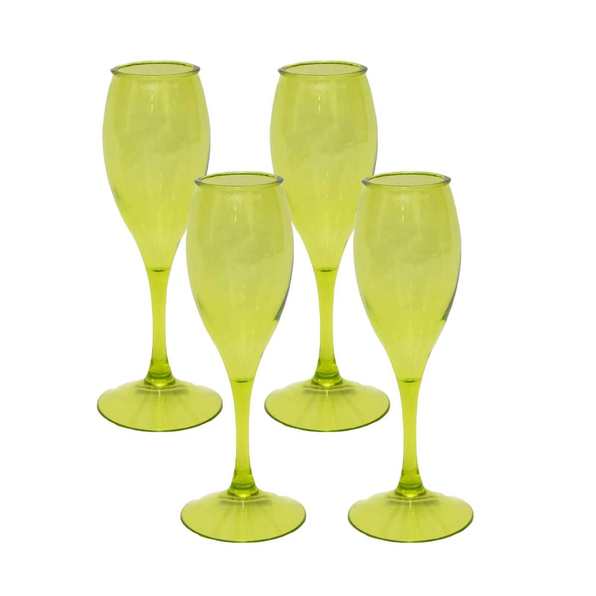 Kits 4 Taça para Champagne Acrílico Verde 220 ml  - Lemis