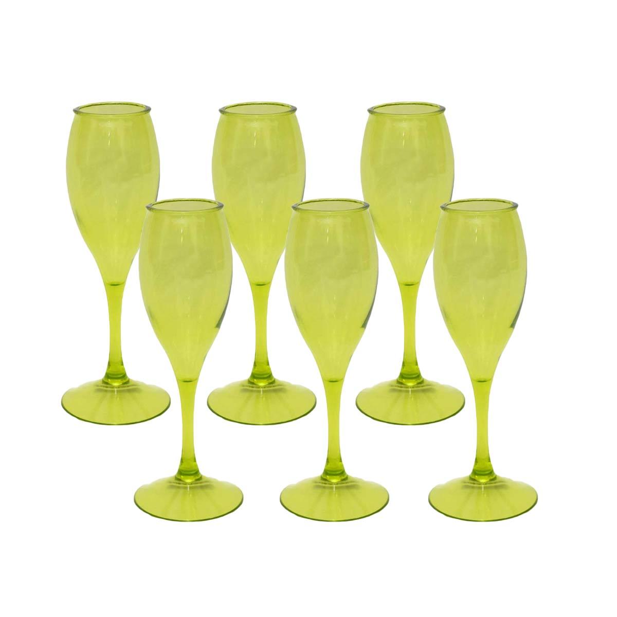Kits 6 Taças para Champagne Acrílico Verde 220 ml  - Lemis
