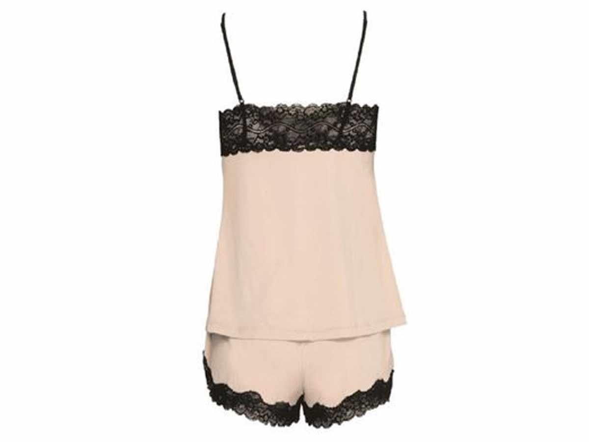Pijama Short Doll Feminino Beje  - Lemis