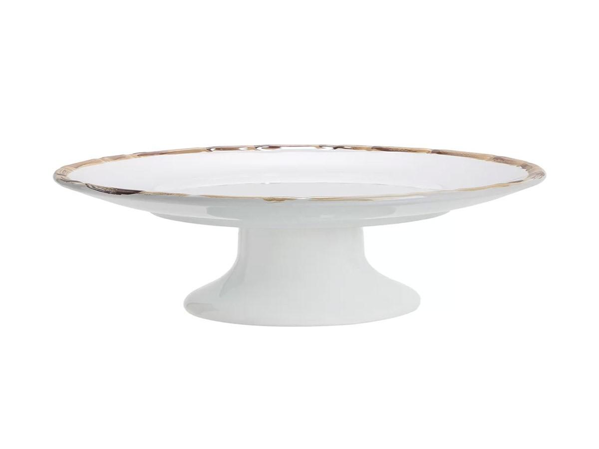 Porta Bolo Branco com Borda de Bambu Natural 2ª Linha  - Lemis
