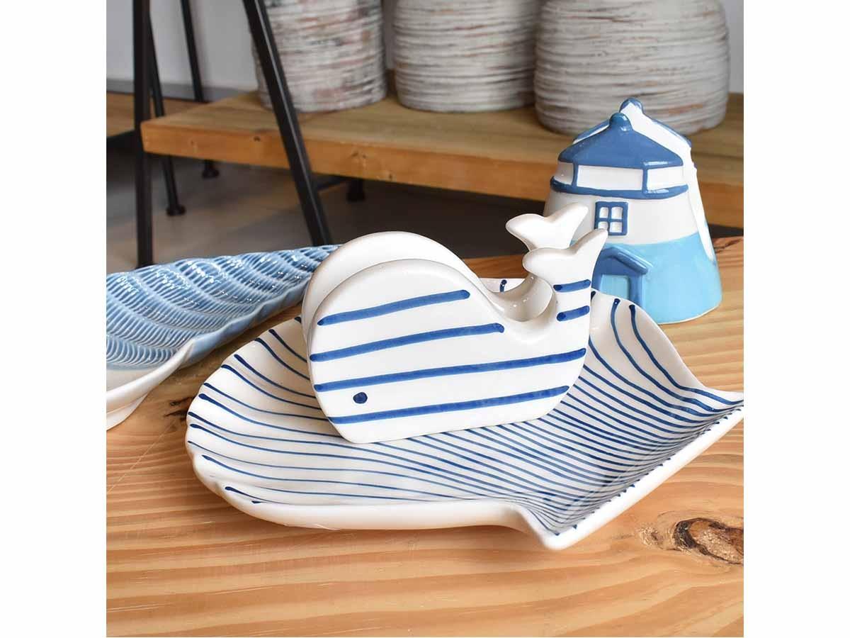 Porta Guardanapo De Cerâmica Com Desenhos Marítimos  - Lemis