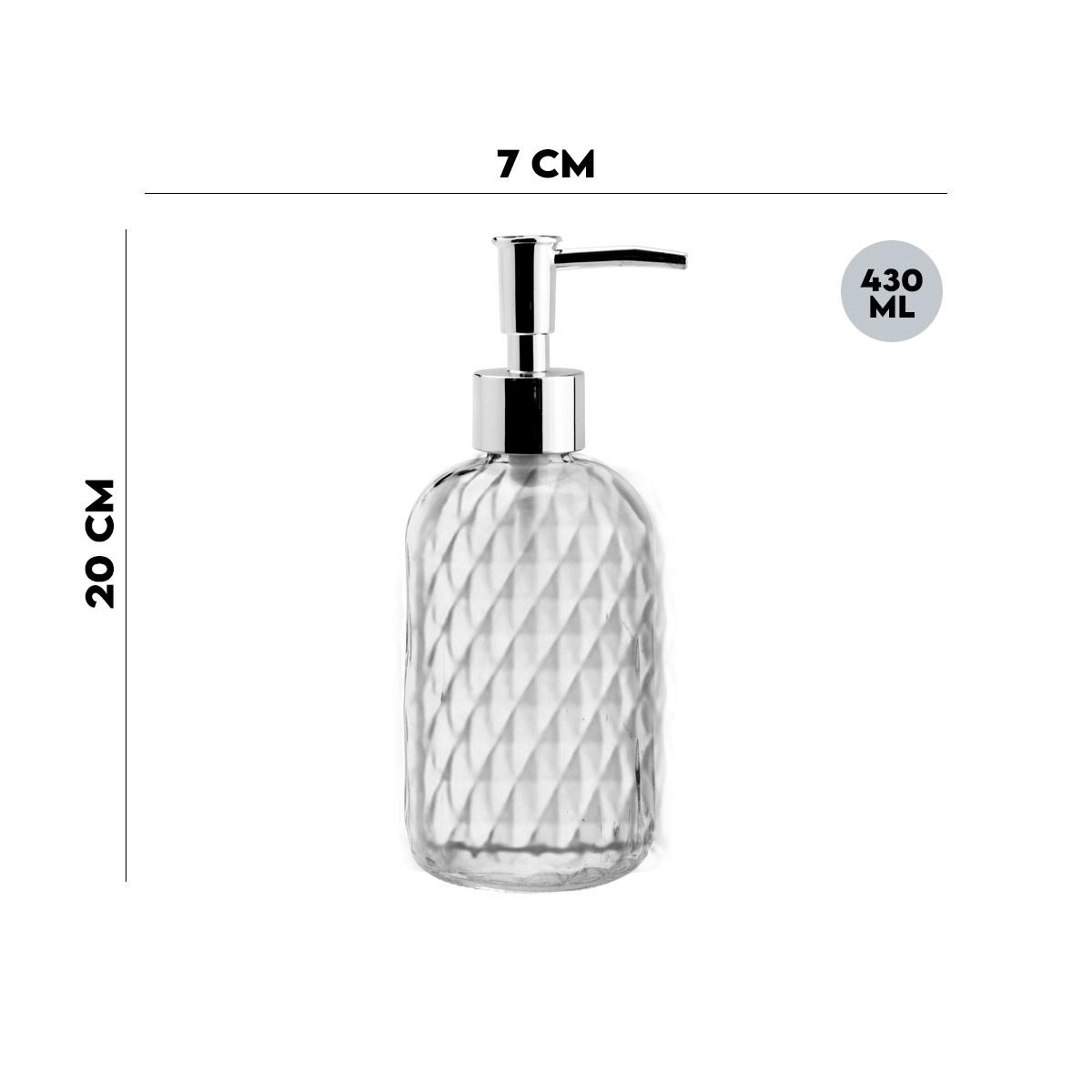 Porta Sabonete Liquido de Vidro Sodo Cálcico Bico de Abacaxi 430ml Lyor  - Lemis