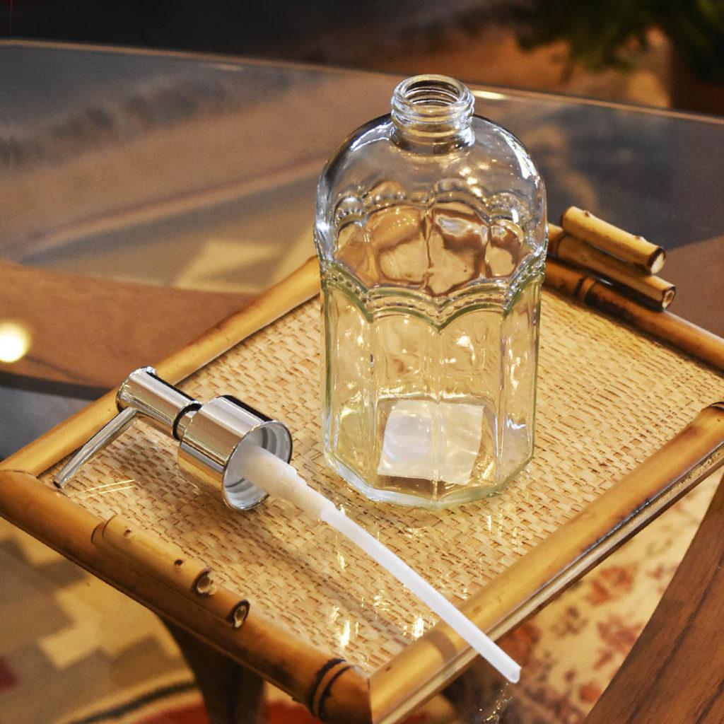 Porta Sabonete Liquido de Vidro Sodo-Cálcico Desenhada 430ml Lyor  - Lemis