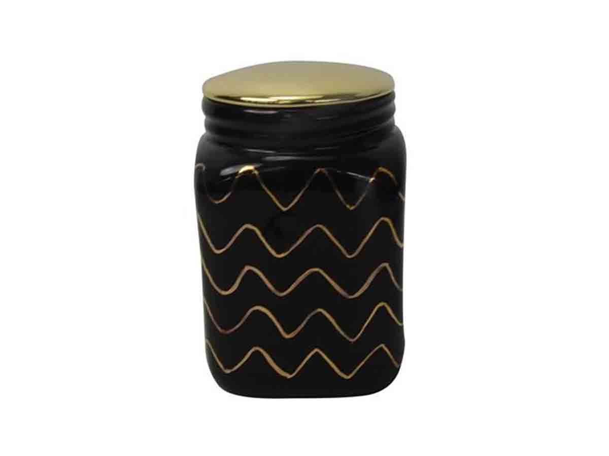 Pote Em Cerâmica BTC Preto E Dourado 11x11 cm  - Lemis