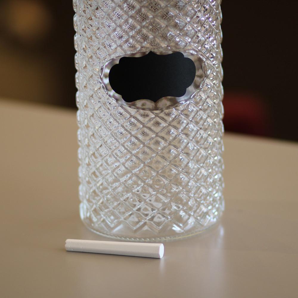 Pote em vidro com tampa preta Label 11×22 cm Bon Gourmet  - Lemis