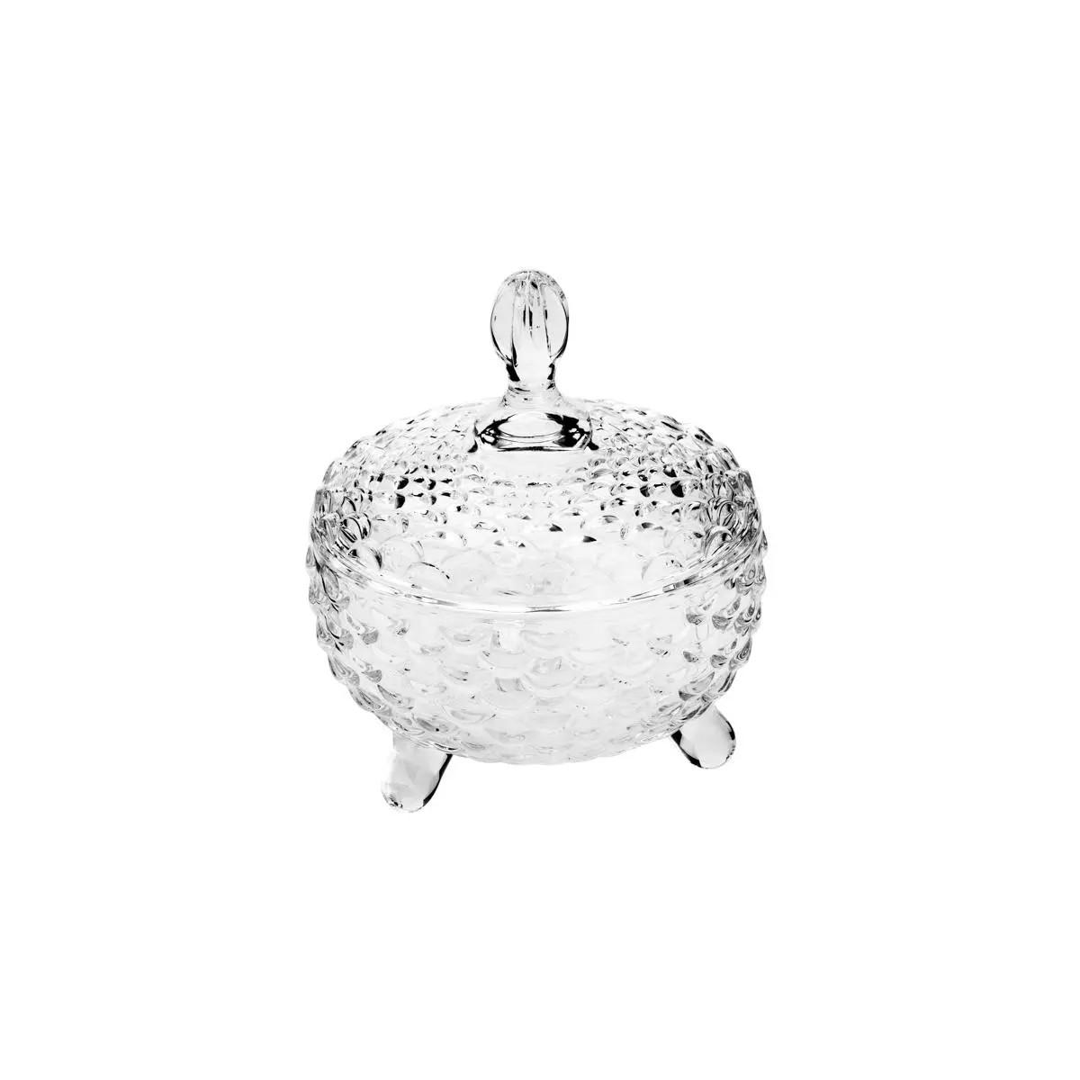 Potiche Decorativo com Pe de Cristal de Cumbo Pineapple  - Lemis
