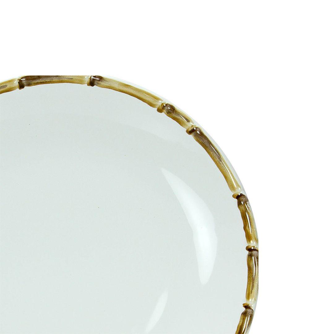 Prato de Sobremesa Branco Cerâmica Scalla Bambu 2ª Linha  - Lemis