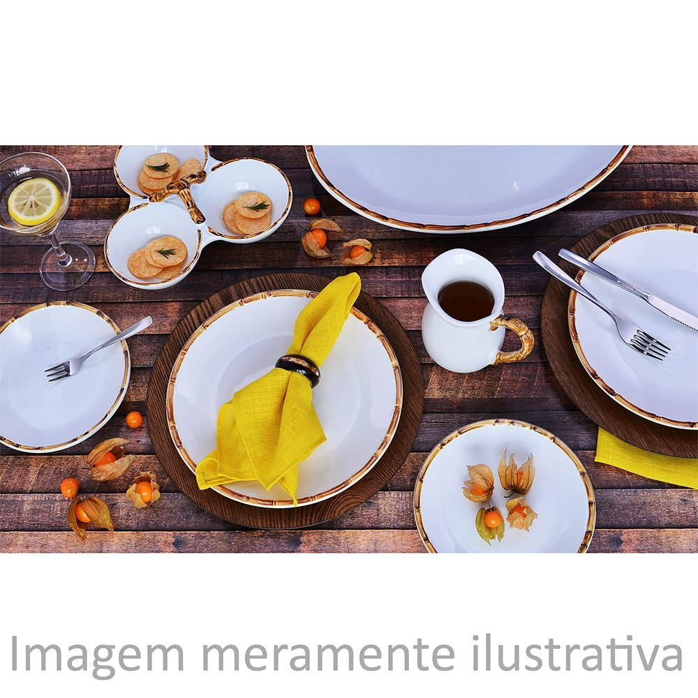 Prato Raso Bambu Branco E Natural 27cm Scalla 2ª Linha   - Lemis