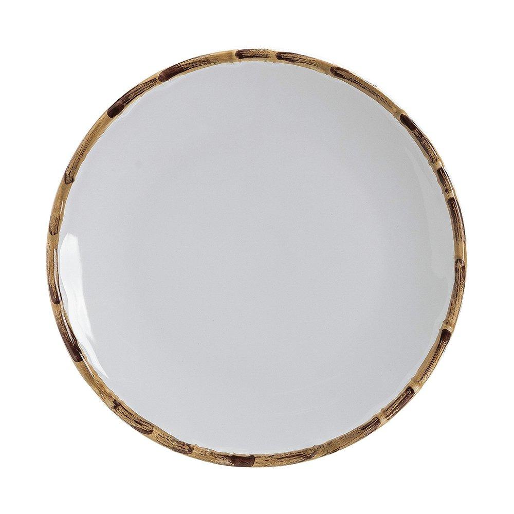 Prato Raso Branco Borda de Bambu 27cm 1ª Linha Selecionados  - Lemis
