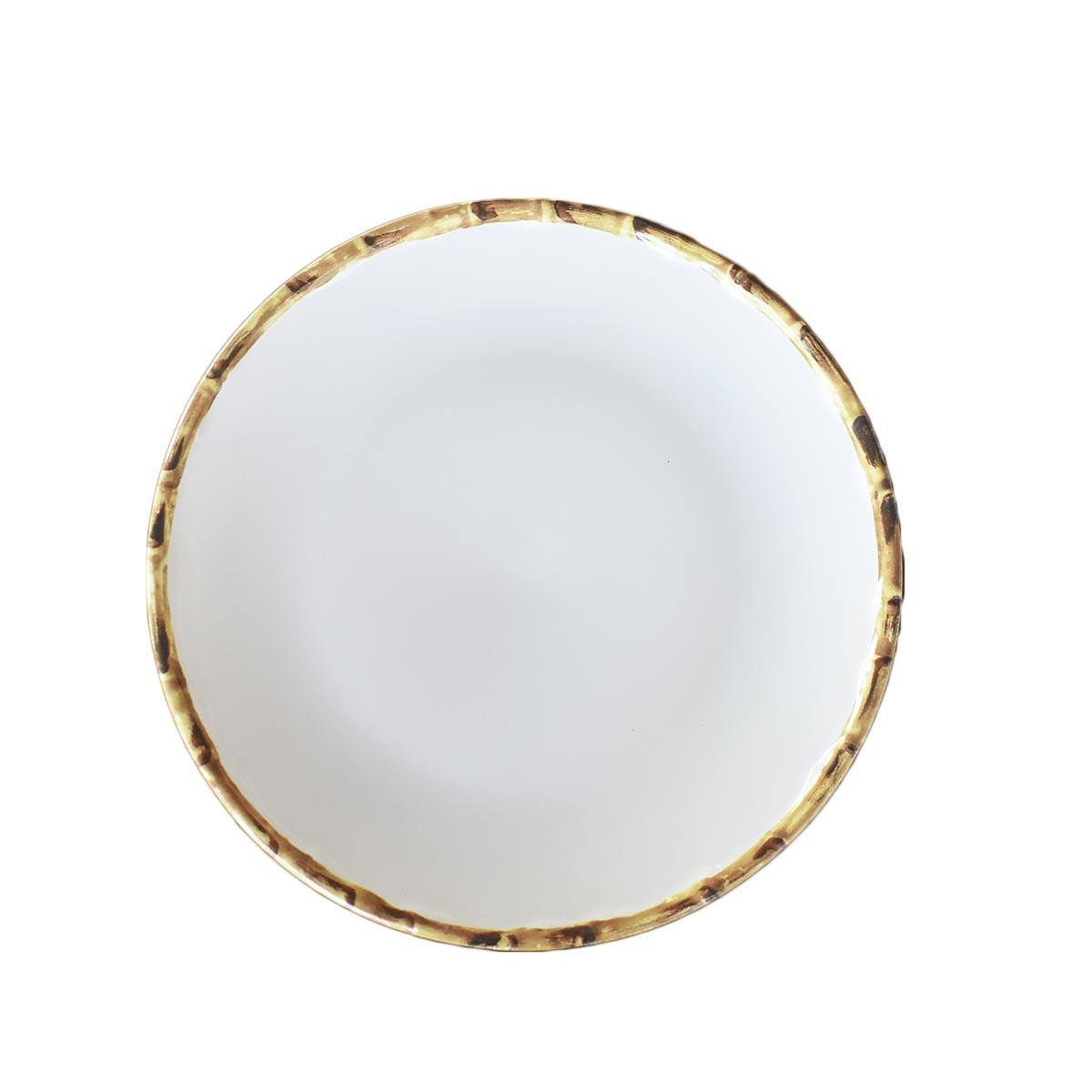Prato Raso Branco com Borda de Bambu 27cm 1ª Linha Scalla  - Lemis