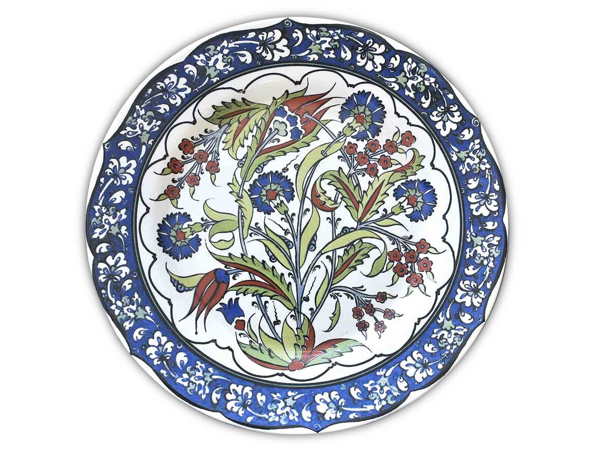 Prato Raso Flor Azul com Marrom 29,5cm 2ª Linha  - Lemis