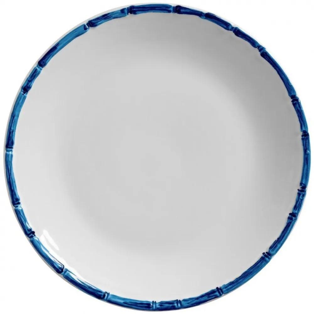 Prato Sobremesa 20cm Borda de Bambu Azul 2ª linha  - Lemis