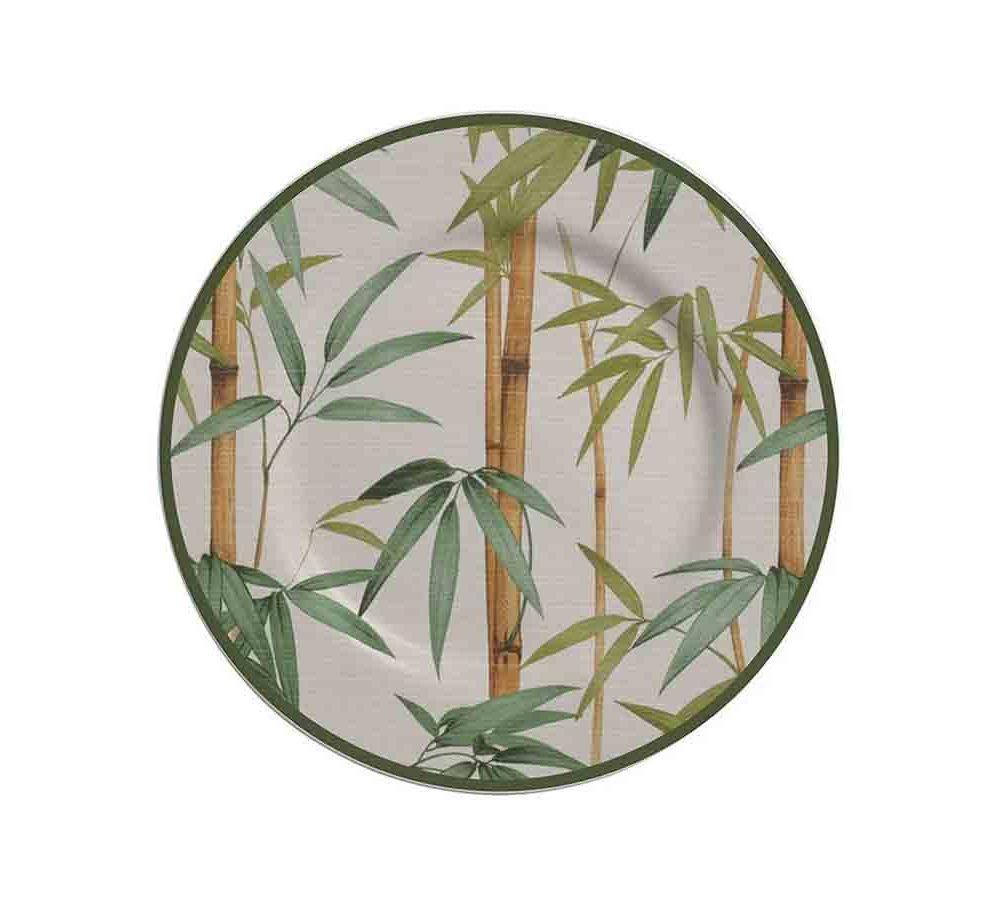 Prato Sobremesa Folhas Bambu 2ª Linha  - Lemis