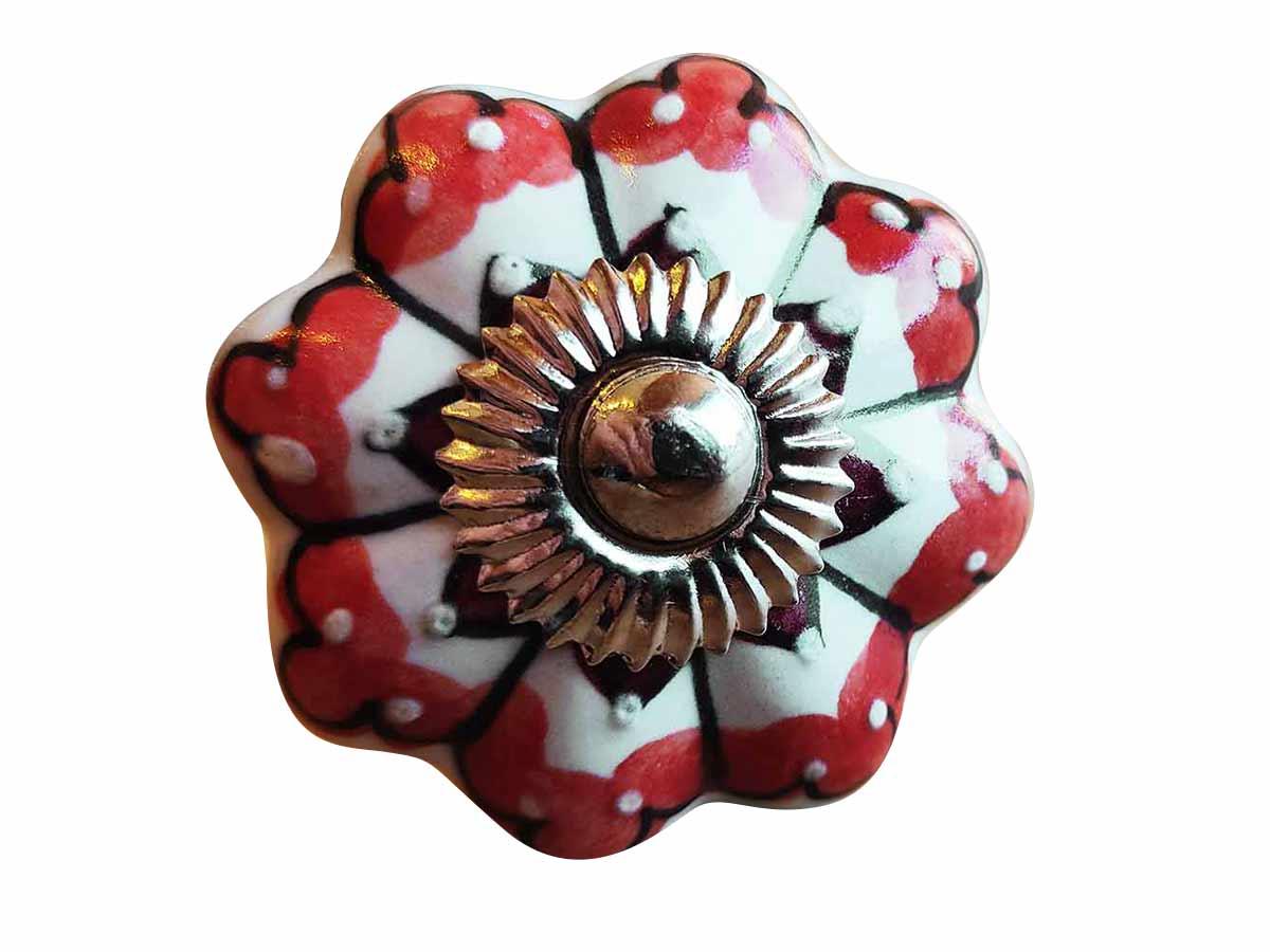 Puxador em Cerâmica Branco Detalhes Vermelhos  - Lemis
