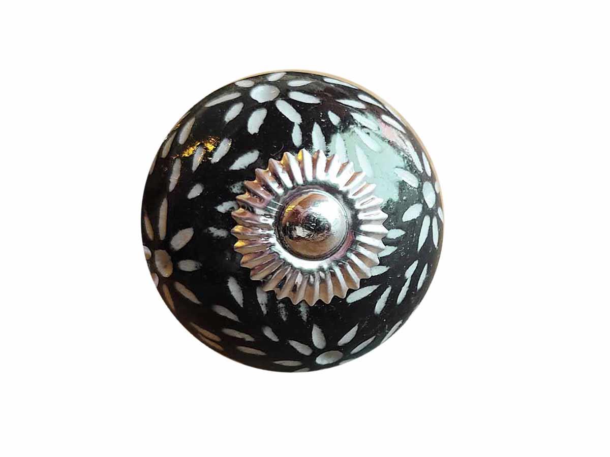 Puxador Porta Cerâmica Preto  - Lemis